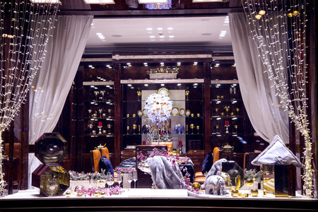 beautifully: RUSSIA, MOSCOW, DECEMBER, 30, 2014 -  The beautifully executed shop-windows are in a Stefano Ricci shop on the Tverskaya street, Moscow
