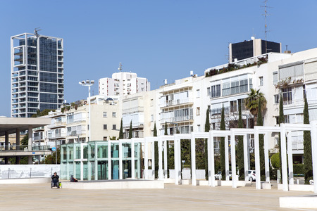 institutions: ISRAEL, TEL-AVIV, MARCH, 23, 2014 - Habima Theatre in Tel Aviv, Israel.  Its a public space, home to cultural institutions such as Habima Theatre, Culture Palace and Helena Rubinstein Pavilion for Contemporary Art in Tel Aviv Editorial