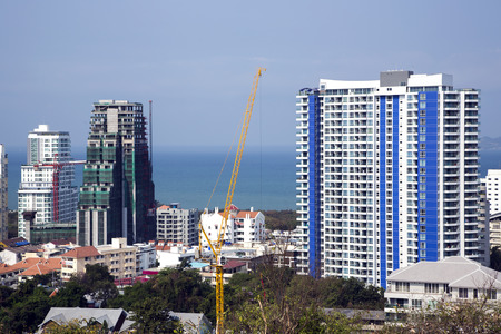 multistory: New and built modern multistory hotels on the coast of the Siamese bay in Pattaya, Thailand Stock Photo