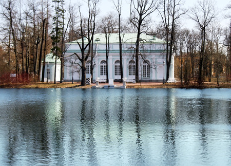 was: The Catherine Palace was the Rococo summer pavilion of the Russian tsars and Great pond in the Catherine Park. Tsarskoye Selo, St.Petersburg, Russia