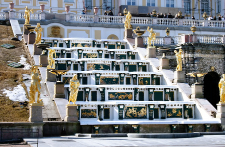 petrodvorets: RUSSIA, ST.PETERSBURG, 2011, APRILY - Fountains in Petrodvorets Peterhof by an early spring, Saint Petersburg, Russia.