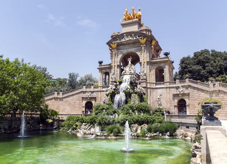 extent: Cascade fountain of Parc de la Ciutadella in Barcelona, Spain. It was erected by Josep Fontsere and to a small extent by Antoni Gaudi, who at that time was still an unknown student of architecture. Stock Photo