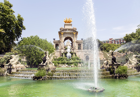 josep: Cascade fountain of Parc de la Ciutadella in Barcelona, Spain. It was erected by Josep Fontsere and to a small extent by Antoni Gaudi, who at that time was still an unknown student of architecture. Stock Photo