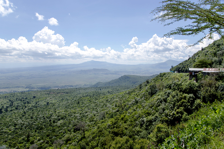 rift: The beautiful landscape of the Great Rift Valley from the Kamandura Mai-Mahiu Narok Road, Kenya, Africa. Stretching approximately 6,000 kilometers from northern Ethiopia to central Mozambique.