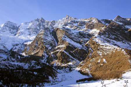 Saas Fee: Fee Glacier (Fee Gletscher) are covered with snow creating a beautiful winter landscape in Saas Fee, Switzerland. Stock Photo