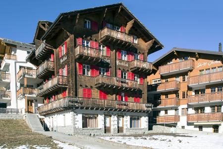Saas Fee: SWITZERLAND, SAAS-FEE, DECEMBER, 26, 2015 - Modern hotels in the charming Swiss resort of Saas-Fee, Switzerland