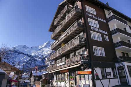 britannia: SWITZERLAND, SAAS-FEE, DECEMBER, 26, 2015 - Modern hotel Britannia in the charming Swiss resort of Saas-Fee, Switzerland
