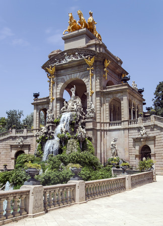 Cascade fountain of Parc de la Ciutadella in Barcelona, ??Spain. It was erected by Josep Fontsere and to a small extent by Antoni Gaudi, who at that time was still an unknown student of architecture Stock Photo
