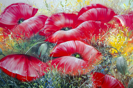 LATVIA, RIGA, JUNE, 20, 2015 - Fragment oil paintings on a theme on a summer meadow with poppies on a canvas closeup Editorial
