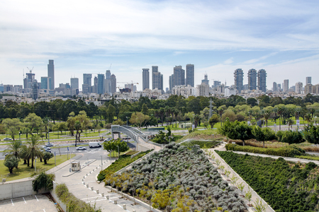 View of the modern multistory Tel Aviv with new roads and beautiful parks, Middle East, Israel.