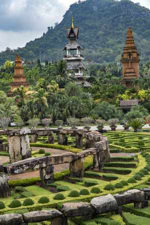 Landscape of tropical park of Nong Nooch - botanical garden and tourist attraction, wildlife conservation project in Pattaya, Chonburi Province, Thailand. Stock Photo