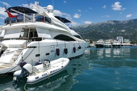 MONTENEGRO, BUDVA, JULY, 13, 2013 - View of the luxury yachts at Porto Montenegro in Tavor of the Boka Kotorska bay, Montenegro Editorial