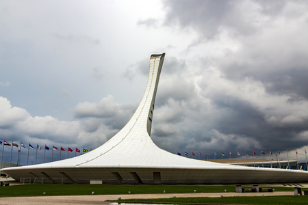 Bowl of Olympic torch in the Sochi Olympic Park, Russia. Grandiose construction.