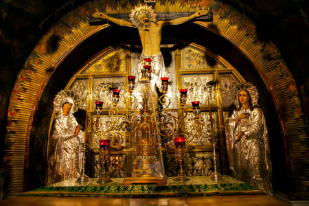 Golgotha Mountain, the main Christian shrine in Temple of the Holy Sepulcher. Jerusalem, Israel. Editorial