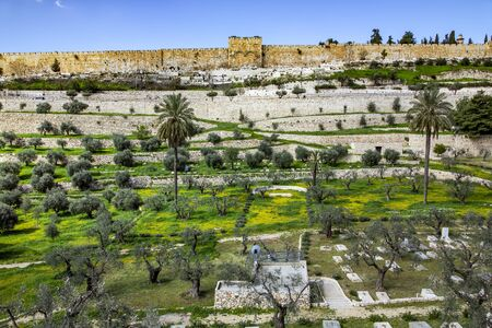 View of the Golden Gate of the walls of the old city of from the Mount of Olives. Mount of Olives - since biblical times, there was a Jewish cemetery. Middle East, Jerusalem, Israel. Stock Photo