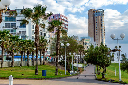 ISRAEL, BAT YAM, MARCH, 2016 - View of the city Bat Yam streets with modern buildings and street greening. Middle East, Israel