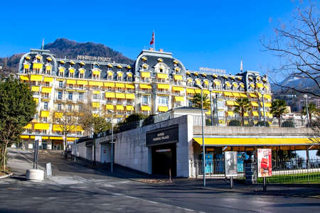 SWITZERLAND, MONTREUX, DECENBER, 2015 - The Montreux Palace Hotel is located on the shores of Lake Geneva in Switzerland. Built in 1906 it is fashioned in the Belle - Epoque style.