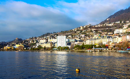 SWITZERLAND, MONTREUX, DECEMBER, 2015 - Panorama city of Montreux about of Lake Leman or Lake of Geneva on the background high snowy Alps, Montreux, Switzerland