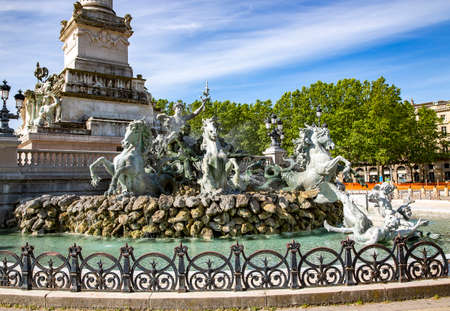FRANCE, BORDEAUX, MAY, 19, 2019 - Majestic monument to the Girondins - 43-meter column with sculptures at the foot colonne place des Quinconces, Bordeaux, France