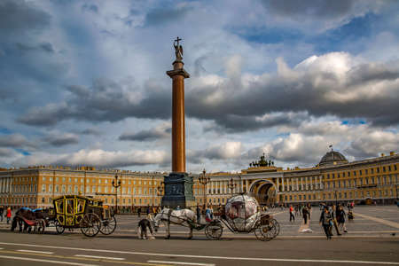 Russia, St.Petersburg, September, 12, 2015 - Alexander Column on  Palace Square one of the most beautiful and harmonious ensembles of architecture in the world in St. Petersburg, Russia