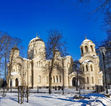 Riga Nativity of Christ Orthodox Cathedral on sunny winter day in Riga, Latvia