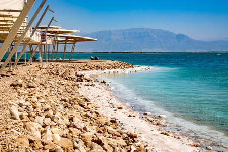 Concept of ecological, medical tourism at the resorts of the Dead Sea, located between Israel, Jordan and the Palestinian Authority. 写真素材