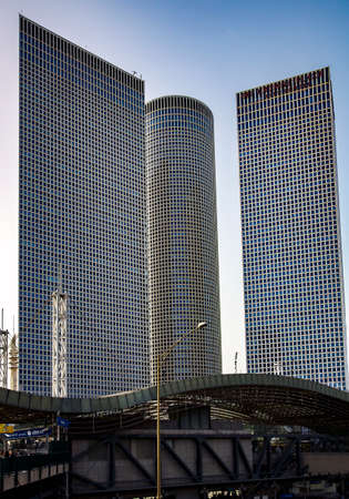 ISRAEL, TEL AVIV, FEBRUARY, 2018 - Azrieli Center is a complex of skyscrapers in Tel Aviv. At the base of the center lies a large shopping mall.
