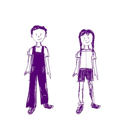 schoolchildren in casual clothes. Kind of concept art of draft for character design. Illustration
