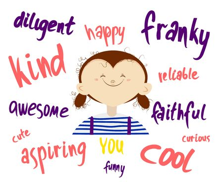 Curly girl making a positive smile with a self-esteem. Illustration