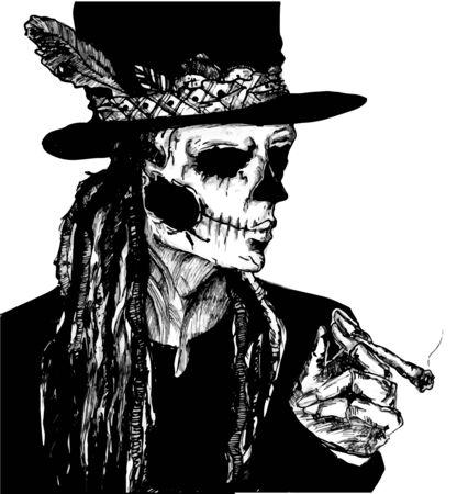 vector dibujado a mano ilustración monocromática de loa vudú