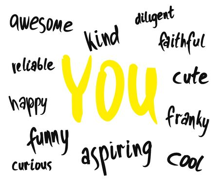 boceto monocromático mínimo con descripciones amables e inspiradoras para ti. Temas positivos para el cuerpo y el amor propio.