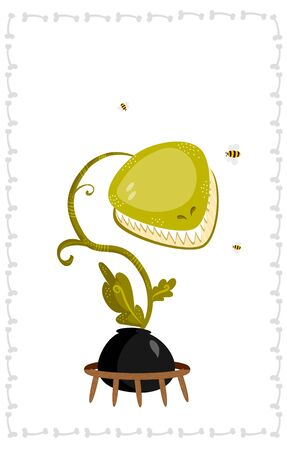 cartoon auger plant with white teeth, augmented with some simplified bees and a bony frame.