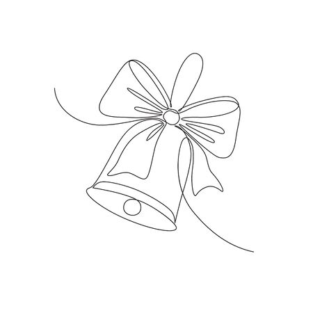 monochrome sketchy illustration of a bell with ribbon, dedicated to school theme.