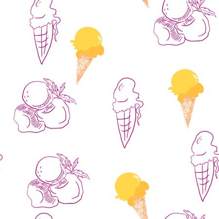 minimal sketchy pattern of different servings of ice cream. Different styles of drawing - sketchy hand drawn manner and flat illustration.