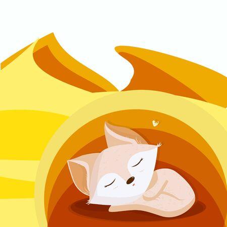cute childlike illustration of a fennec fox sleeping in its den. Very simplified desert landscape.