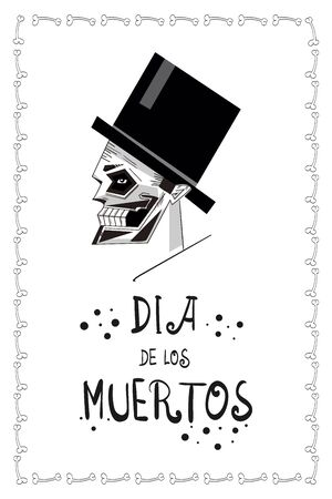 Digital minimal illustration of a silk hat with silk hair, augmented with funny frame with bones. Dedicated to Dia de Los Muertos (the Day of the Dead).  イラスト・ベクター素材