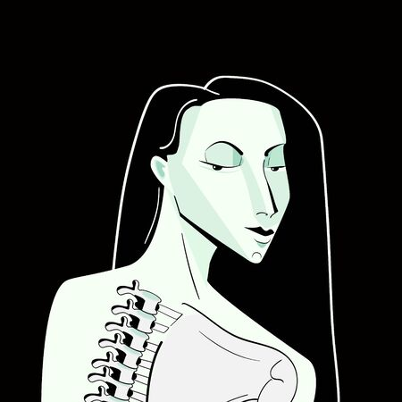 minimal monochrome illustration of a female zombie or stylized vampire.