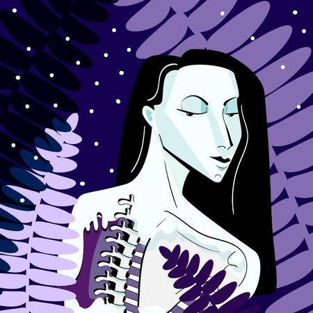 digital fantastic illustration of a mavka - Ukrainian mythological character, a dead young woman. Decorated with fern leaves.