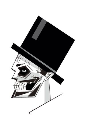 illustration of a stylized image of a skull in high silk hat. Can be also used for the dead themes.