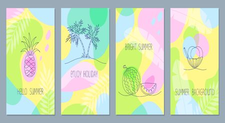 vector vivid set of one summer illustrations. Different artistic techniques.