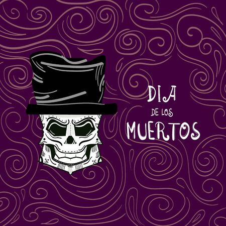 Day of the Dead on a white background. Can be also used for voodoo or Halloween themes.