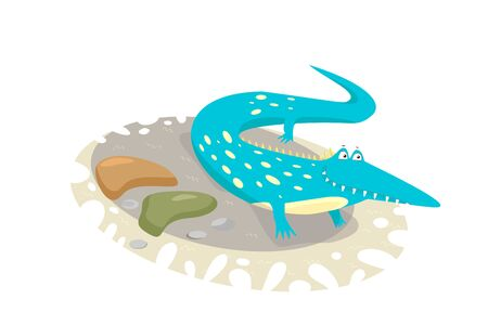 childlike funny illustration with turquoise crocodile augmented with simplified images of sand and stones.