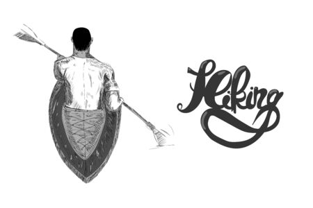 sketchy hand drawn illustration of a man sitting in canoe. Hiking sign beside him.
