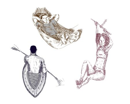 He is laying in hammock, jumping and canoeing. Ilustrace