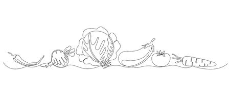 monochrome sketchy baner with different veggies - onion, beet, pepper, tomato, eggplant drawn with one line.