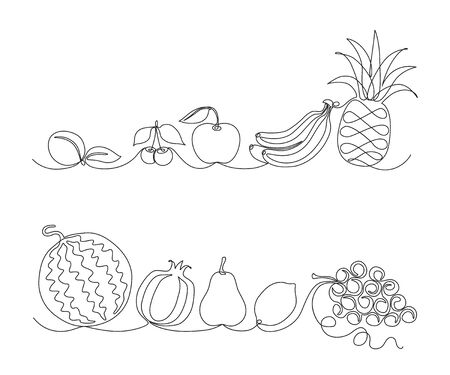 monochrome fruit borders drawn with one line. printed goods.