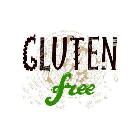 Vector hand drawn sketchy Gluten Free sign augmented with stylized handful of wheat seeds. Design element, printed goods, health and nutrition image.  イラスト・ベクター素材