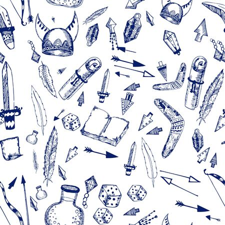 vector seamless pattern made with LARP elements isolated on white. printed goods. Illustration