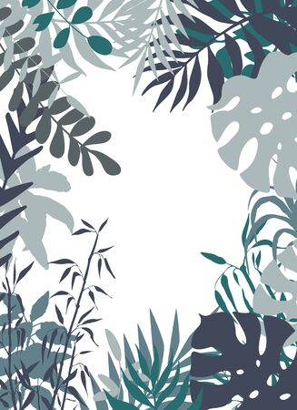 vector floral composition made with different leaves and plants colored in dusty blue and gray. Illusztráció