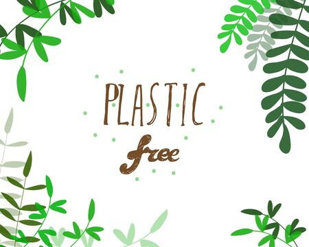 vector hand drawn illustration dedicated to plastic free movement. also can be used in ecological theme.  イラスト・ベクター素材
